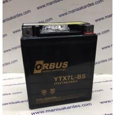 Akü 12 Volt 7 Amper YTX7L-BS Dik Kalın Tip Motosiklet İthal Orbüs Marka İthal Çin Üretim (akü127dor)