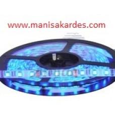 LED ŞERİT 12 v 3 CİPLİ DIŞ Cephe Silikonlu Mavi Renk Top 5 Mt İthal