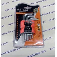 Allen Anahtar 9 Parça Takım Alyan Seti Kısa Düz Tip Knıtex Marka İthal Çin Malı 1,5-2-2,5-3-4-5-6-8-10 mm